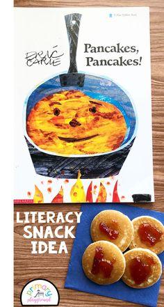 Literacy Snack Idea Pancakes + Free Printable - Pancakes pancakes by Eric Carle Preschool Snacks, Preschool Books, Preschool Lessons, Art Lessons Elementary, Preschool Activities, Kindergarten Literacy, Sequencing Activities, Eric Carle, Cooking With Kids