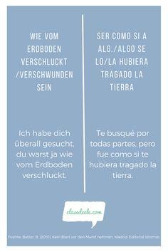 Frases hechas Alemán /español. Encuentra material para aprender español en nuestra Web! Ideas, Learning Spanish, Spanish Class, Thoughts
