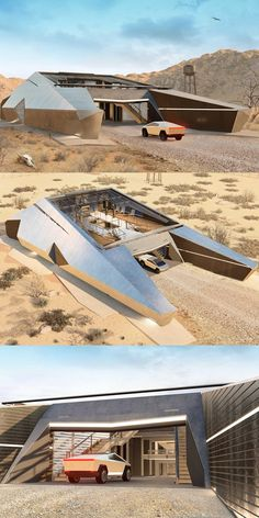 This Is The Tesla Cybertruck Home Of Your Dreams. The Cyberhouse is the No. 1 bunker of choice among Blade Runner-loving cyberpunk survivalists. Futuristic Home, Futuristic Architecture, Concept Architecture, Amazing Architecture, Architecture Design, Casa Bunker, Bunker Home, Casa Top, Dream House Exterior