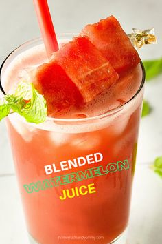Perfect for hot summer days. Blended Watermelon Juice with Mint Tea. Refreshing, hydrating and NO added sugar. #watermelonjuice #watermelonrecipoes #watermelondrink #watermelonmint Recipes Using Fruit, Easy Drink Recipes, Shake Recipes, Summer Recipes, Smoothie Recipes, Real Food Recipes, Smoothies, Healthy Recipes, Fun Cocktails
