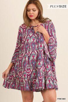 UMGEE printed 3/4 bell sleeve A line shift boho swing dress tunic plus xl 1x 2x #umgee #Shift #Casual