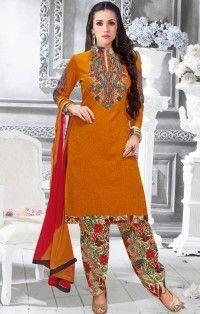 Orange Georgette Embroidered Designer Suit