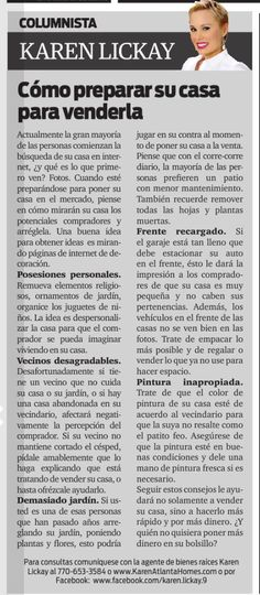 Amigos, no se pierdan mi más reciente columna de bienes raíces en el distinguido periódico La Visión. El tema de esta semana se trata de consejos al momento de preparar su casa para venderla. Disfruten!