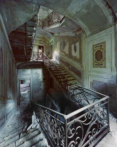 This villa lies abandoned in the north of Italy, its once-grand staircase reduced to rubble...