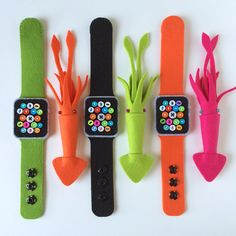 Party Accessories: Low-Tech Apple Watches & Squid Brooches - Shared by @sheishine! #felthacker