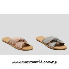 Knot Mule Sandals Pink size 40 Grey size 40 41 #6000 www.questworld.com.ng www.konga.com/QUEST-WORLD-BOUTIQUE