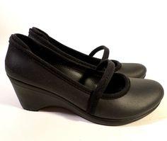 "Womens Size 8 Retired ""Casey"" Crocs, Black Mary Jane Wedge Heels, Slip On Shoes"