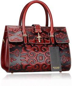Pijushi Classic Ladies Embossed Floral Leather Tote Satchel Top Handle  Handbags 65098 (Red Luck Flower)  Handbags  AmazonSmile a56c964d45