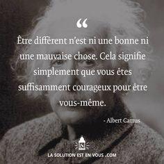 On notera la citation d'Albert camus sur la tête d'Albert Einstein xD Positive Mind, Positive Attitude, Positive Quotes, Albert Camus, Albert Einstein, Quote Citation, French Quotes, Some Words, Motivation Inspiration