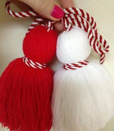 About 2 years ago I was introduced to the Bulgarian tradition of Baba Marta. Every year, on the of March, Bulgarians exchange Martenitsi,. Baba Marta, Toddler Crafts, March, Diy Projects, Diy Jewellery, Bulgarian, Traditional, Christmas Ornaments, Knitting