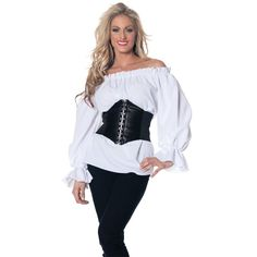 Amazon.com: SC88523A Renaissance Pirate White Chemise Shirt Medieval Peasant Wench Blouse: Clothing