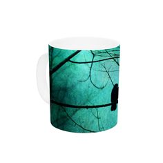 "Robin Dickinson ""Smitten"" Blue Teal Ceramic Coffee Mug"