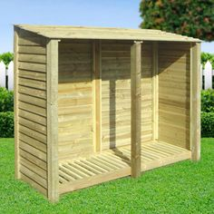 Normanton log store - 6ft (available in light green/rustic brown, slatted/solid and with a reversed roof)