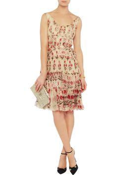 Oscar de la Renta Floral-print silk-tulle dress - 63% Off Now at THE OUTNET