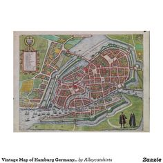 Vintage Map of Hamburg Germany (1590) Poster