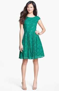 Another modest dress!  Hailey Adrianna Papell Embellished Lace Fit & Flare (Online Only) available at #Nordstrom