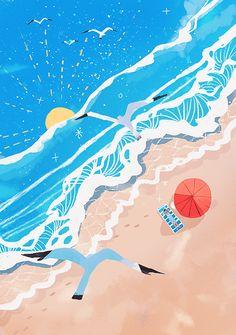Pascalito ¡ on Behance > Tristan Gion Beach Illustration, Landscape Illustration, Digital Illustration, Graphic Illustration, Parasols, Illustrations And Posters, Beach Art, Pattern Wallpaper, Oeuvre D'art