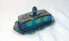 Blue Carnival Glass Grape Harvest Butter by TeaLightedTeacups