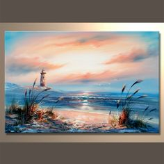 Seascape with oil Seascape Paintings, Landscape Paintings, Oil Paintings, Watercolor Landscape, Watercolor Paintings, Mini Canvas Art, Canvas Frame, Pastel Art, Acrylic Art