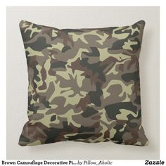 Shop Brown Camouflage Decorative Pillow created by Pillow_Aholic. Bright Pillows, Colorful Pillows, Colorful Decor, Throw Pillows, Decorative Items, Decorative Pillows, Camo Designs, Army Camo, Best Pillow