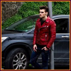 New Men's Genuine Lambskin Leather Jacket Red Slim fit Biker Motorcycle jacket #WesternOutfit #Motorcycle