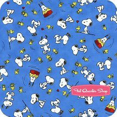 Happiness is Peanuts Blue Snoopy and Woodstock Yardage SKU# 22066-B - Fat Quarter Shop