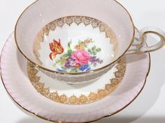 Luxurious Royal Grafton Tea Cup and Saucer,Tea Set, Antique Tea Cups, English Bone China Cups, Hand Painted Pink Cup, Vintage Tea Cups