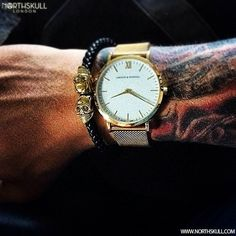 Northskull Essentials !   @Jb_1993 Is Ready For The Day With These Luxury Essentials   Liten Gold Larsson & Jennings Watch Along With Our Black Nappa Leather & 18kt. Gold Twin Skull Bracelet.   Available Now At Northskull.com   What's On Your Essentials List? Post A Photo Of Your Essentials With The Tag #Northskullessentials On Instagram