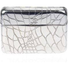 Pre-owned Chanel Chrome Croc Embossed Minaudiere Clutch
