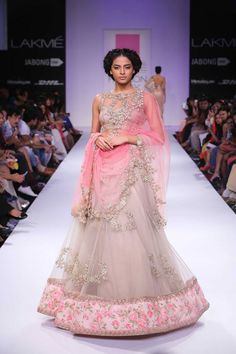 Floral pink and light grey Indian wedding lehenga by Anushree Reddy at Lakme Fashion Week Winter 2014