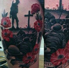 75 Poppy Tattoo Designs For Men - Remembrance Flower Ink Patriotische Tattoos, Army Tattoos, Military Tattoos, Sleeve Tattoos, Tattoos For Guys, Tatoos, Tattoo Sleves, Flag Tattoos, Future Tattoos