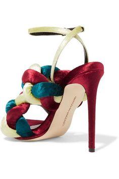 Marco De Vincenzo - Braided Velvet Sandals - Claret - IT36.5