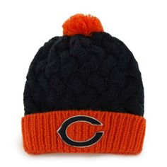 Chicago Bears Women's '47 Brand Matterhorn Pom Top Cuff Knit Hat by '47 Brand. $14.99. Contrast color pom top and turn-up cuff. 100% Acrylic knit. All-over cable chunky cable knit pattern. Women's '47 Brand Matterhorn Pom Top Cuff Knit Hat. Embroidered logo. Top off your everyday look with this Chicago Bears Women's '47 Brand Matterhorn Pom Top Cuff Knit Hat! Brought to you by '47 Brand, this Chicago Bears hat has an all-over chunky cable knit pattern with contras...