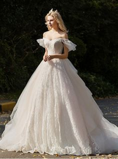 Ball Gown White Tulle Off The Shoulder Backless Wedding Dress – kemedress Fairy Wedding Dress, Cheap Wedding Dress, Dream Wedding Dresses, Wedding Gowns, Tulle Wedding, Fairytale Dress, Ball Dresses, Ball Gowns, Classic Wedding Dress