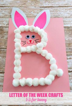 Letter of the Week Crafts are a fun way to learn and practice the alphabet. Practice the letter B with this bunny craft for kids! Its a great alphabet activity and fun around Easter too!