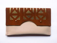 FOLD OVER CLUTCH // brown suede and skin por BlackbirdAndTheOwl, €55.00