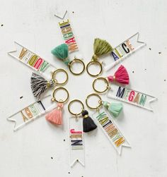 NEW!!! Custom personalized name keychains. This listing is for 1 keychain. Please select the tassel color you would like from the drop down menu. The letters will be painted similar to the keychain with the corresponding tassel color in the listing photo. Longer names will have smaller