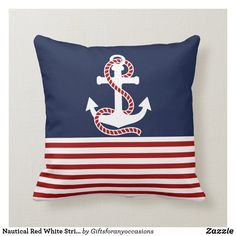Nautical Red White Stripes and White Anchor Throw Pillow Nautical Stripes, Nautical Home, Custom Pillows, Decorative Pillows, Boat Decor, Red And White Stripes, Stripes Design, Blue Backgrounds, Custom Clothes