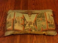 "Retro ""Greetings from Texas"" Throw Pillow Featuring Longhorn & Other Iconic Scenes"