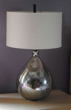 Pottery Barn Knock Off - Mercury Glass Lamps by One Day at a Time  What a deal...2 clear glass lamps for $6 each and now they're these awesome mirror-like lamps! See how she did it. Knock off Decor #DIY Knock Off Pottery Barn