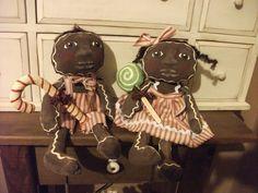Primitive Black Folk Art Gingerbread Doll Set by primitivewishfuls