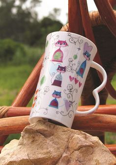 Porcelain XXL Mug with funny cats and white checks from Multiple Choice by Top Choice in Silly Design Poland. Perfect gift for a morning coffee or afternoon tea... Price 11€