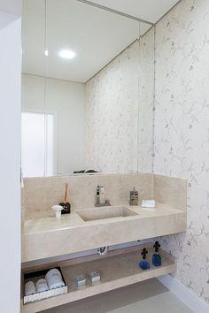 Liberdade Criativa – Revista Habitare Teal Bathroom Decor, Bathroom Sink Design, Bathroom Design Luxury, Modern Bathroom, Home Room Design, Home Interior Design, Washbasin Design, Bathroom Renovations, Number