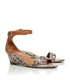 Tory Burch Savannah Snakeskin Wedge Sandals