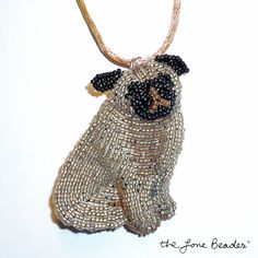 Beaded sitting PUG - wearable art pin/ pendant (Made to Order)