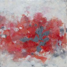 Poppies Contemporary Encaustic Painting by Kara Brook