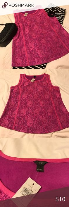 Floral, fitted tank top Hot pink and purple, floral tank top. Top is fitted, so great for professional settings under a blazer or jacket. Ann Taylor Tops Tank Tops