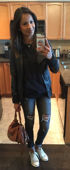 #express jeans, #rootscanada sweater and #converse make a comfy casual outfit