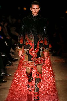 Givenchy - Fall 2015 Menswear - Look 55 of 61 beautiful gradation of material from black sequin to pattern.