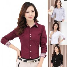 TurnDown Collar Dress female Shirt Long Sleeve Lady Professional Formal Blouse
